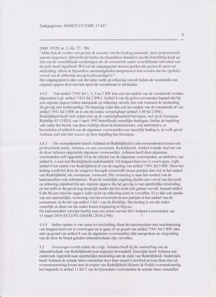 vonnis blad 6 Verzekeraar beschuldigt gedupeerde ten onrechte van fraude